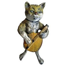 Novelty Cold Painted Nodding Cat Playing The Mandolin c1900.