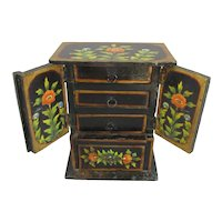 Indian Miniature Painted Chest of Drawers Vintage