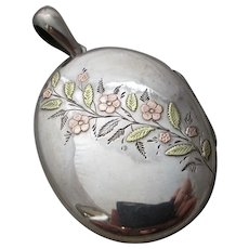 Forget Me Not Flowers 2 Colour Gold on Sterling Silver Double Pendant Locket Antique Victorian c1890.