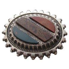 Agate Bloodstone & Carnelian Sterling Silver Brooch Pin Antique Victorian c1890.