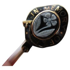 'In Memory of' Black Enamel Forget Me Not Hardstone Cameo Mourning 9k Gold Locket Stick Pin Brooch Antique Victorian c1860.