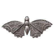 Moth or Butterfly Sterling Silver Filigree Insect Brooch Pin Vintage Art Deco c1920.