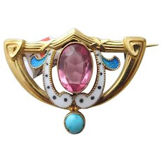French Enamel Turquoise & Pink Paste 9k Gold Brooch Pin Antique Art Nouveau c1890.