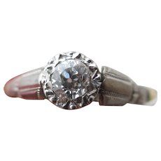 0.25 Carat Diamond Platinum 18k Gold Solitaire Ring Vintage Art Deco c1920.