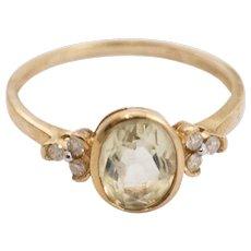 Citrine and Diamond Ring 9k Gold Ring