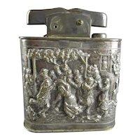 Large Decorative Table Lighter Depicting Medieval Festivity Scene Mylflam Style Vintage c1920