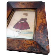 Antique Framed Primitive Watercolour Child With Whip c1840