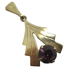Amethyst Paste 9k Gold Pendant English 1974.