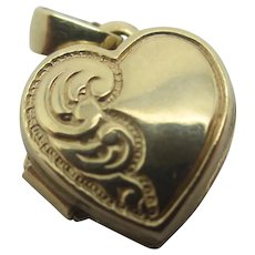 Heart 9k Gold Double Pendant Locket Charm Vintage English c1980.