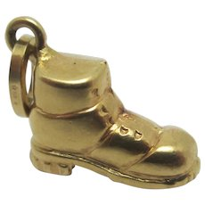 Old Boot Shoe 9k Gold Pendant Charm Vintage c1970.