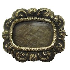 Mourning Hair 15k Gold Mourning Locket Brooch Pin Antique Georgian c1820.