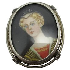 Ladies Portrait 800 Silver Brooch Pin Vintage Art Deco c1920.