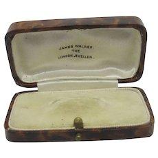 Faux Tortoiseshell Leather Brooch Pin Jewellery Box Vintage Art Deco c1920.