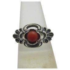 Coral in 800 Grade Silver Ring Vintage Art Deco c1920.