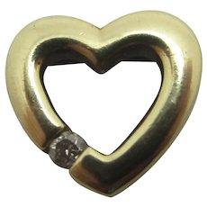 White Sapphire Pierced Heart Pendant Vintage c1980.