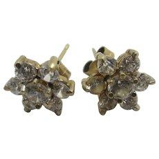 Faux Diamond Paste 9k Gold Stud Earrings Vintage c1980.