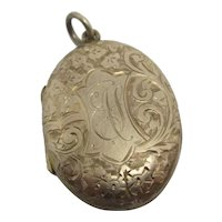 Ivy Leaf 9k Gold Double Pendant Locket Antique Victorian c1890.