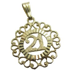 Coming of Age 21 10k Gold Pendant Charm Vintage c1970.