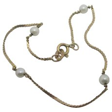 Seed Pearl in 9k Gold Bracelet Vintage 1980 English.