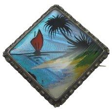 Tropical Island Butterfly Wing Sterling Silver Brooch Pin Vintage Art Deco by TLM, Thomas L Mott.