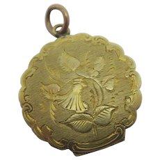 Flower Engraved to 9k Gold Back & Front Pendant Locket Antique Victorian c1880.