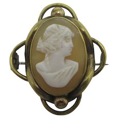 Shell Cameo 9k Gold Case Brooch Pin Antique Victorian c1860.