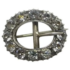 Buckle with Diamond Paste in Sterling Silver Brooch Pin Antique Victorian c1840.