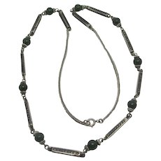 Jade Beads in Niello Sterling Silver Necklace Vintage Art Deco c1920.
