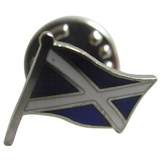Enamel St Andrew Scottish Flag pin brooch vintage Art Deco c1920