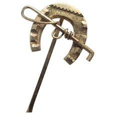 14k gold lucky horseshoe riding crop stick pin brooch vintage Art Deco c1920