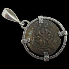 Ancient bronze coin in sterling silver pendant Antique