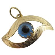 All seeing glass eye 18k / 18ct gold pendant charm Vintage c1980