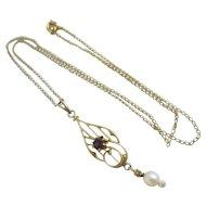 Amethyst paste dangling pearl 10k gold pendant necklace antique Victorian c1890