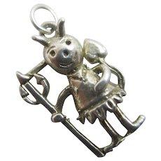 Little girl devil heart tail sterling silver pendant charm Vintage c1960.