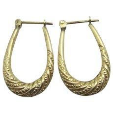 9k Gold Sleeper Hoop Earrings Vintage c1980.