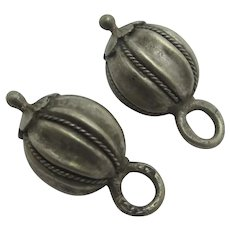 Pair of Sterling Silver Ball Pendants Charms Earrings Antique Victorian c1890.
