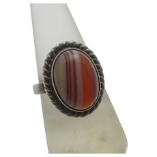 Scottish Banded Agate Sterling Silver Ring Vintage c1970 by Ola M Gorie.