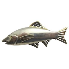 Salmon Fish Sterling Silver 9k Gold Brooch Pin Vintage c1970.