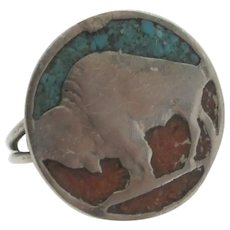 Navajo Zuni Coral Turquoise Buffalo Sterling Silver Ring Vintage c1970.