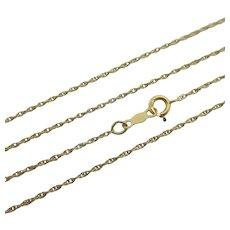 "Rope Link 14k Gold Chain Necklace 45.3cm / 17.8"" Vintage c1980."