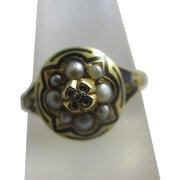 Enamel seed pearl diamond 18k 18ct gold mourning locket ring antique Victorian 1870 English hallmark.