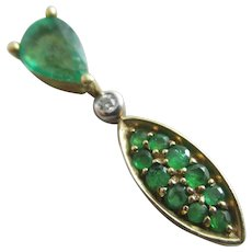 Emerald & diamond 9k 9ct gold pendant vintage 2004 English hallmark.