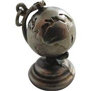 Sterling silver spinning world globe pendant charm Vintage c1960.
