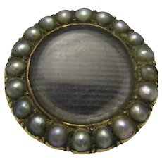 9ct Gold & Seed Pearl Mourning Brooch Antique Victorian c.1870.
