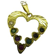 9ct Gold Heart Shaped Pendant Necklace With Precious Stones Vintage 20th Century.