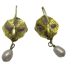 Sterling Silver Earrings Set With Amethysts Antique London c.1890.