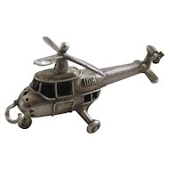 Sterling silver moving helicopter pendant charm Vintage c1960.