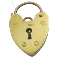Heart Padlock Charm Findings 9k Gold Vintage English 1964.
