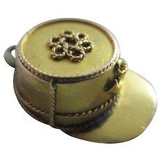 15k 15ct gold French Kepi hat pendant charm locket antique Victorian c1890.