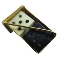 Pair of dice 9k gold pendant charm Vintage c1970.